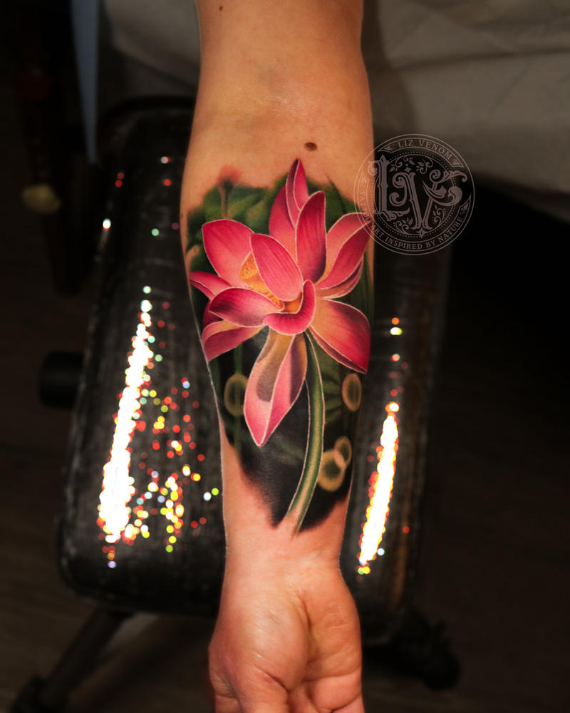 Realistic Lotus Flower Tattoo Design By Liz Venom By Lizvenom On