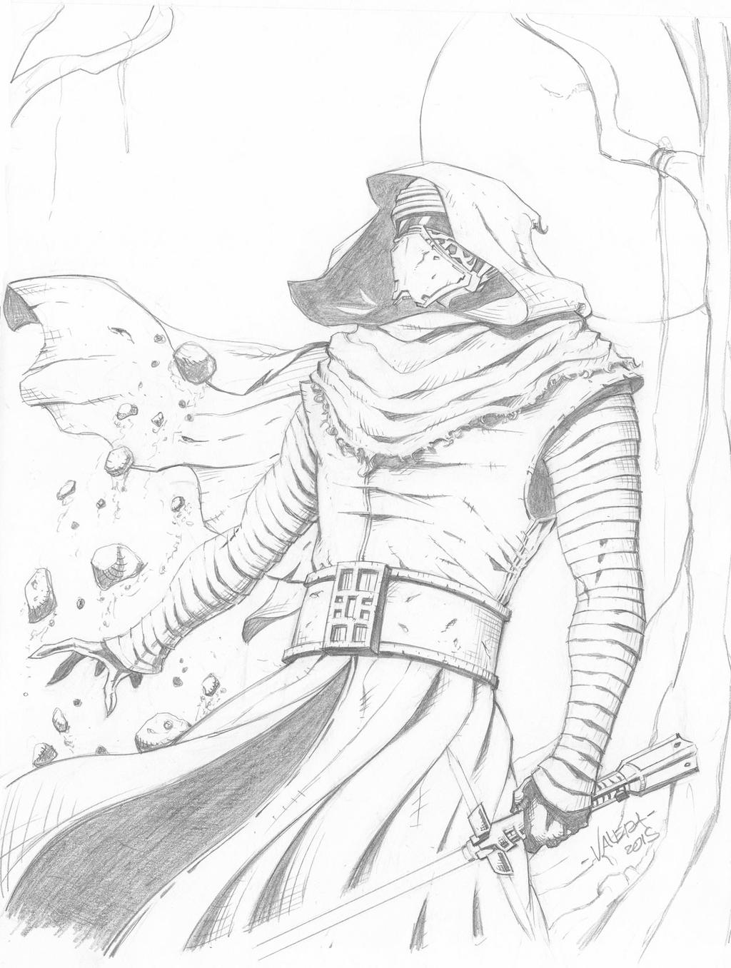 Kylo ren sketch by rv1994 on deviantart for Kylo ren coloring page