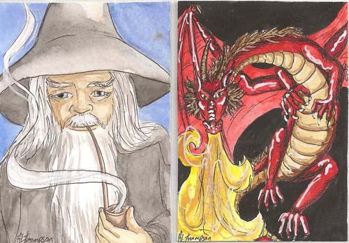 Gandalf and Smaug ATCs by The-IceKat