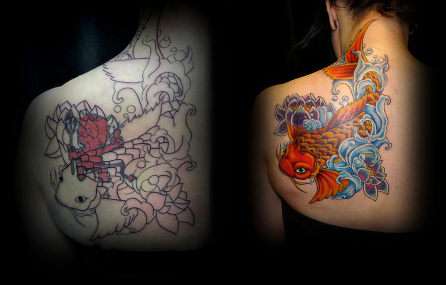 Cover up tattoo koi fish tattoo by taigeri on deviantart for Koi fish cover up