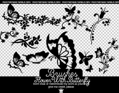 Brushes FlowerWithButterfly