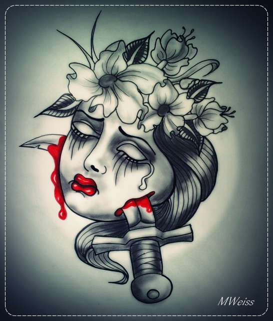 Dead Head Tattoo Flash Woman Dagger And Flowers By MWeiss