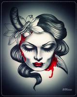 dead head with dagger tattoo flash by MWeiss-Art
