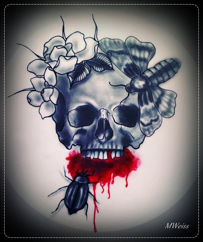 641 Free Hd I Flash Tattoo Design 2012: Bleeding Skull Tattoo Flash By MWeiss-Art On DeviantArt