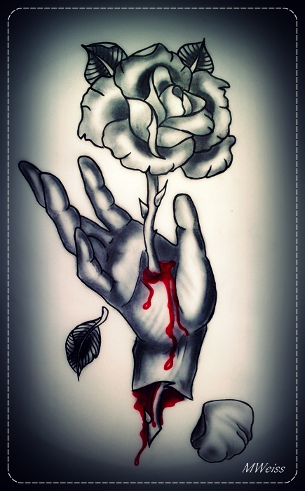 bleeding hand with rose tattoo flash by mweiss art on deviantart. Black Bedroom Furniture Sets. Home Design Ideas