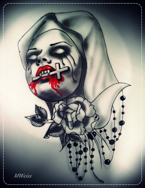 bleeding vampire nun  tattoo flash by MWeiss-Art