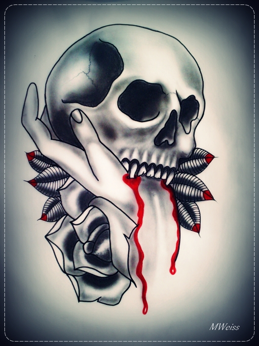 Skull Rose Hand Tattoo