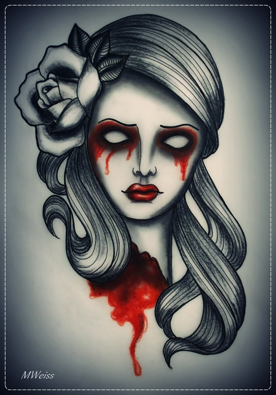 dead head with rose tattoo flash by oldSkullLovebyMW