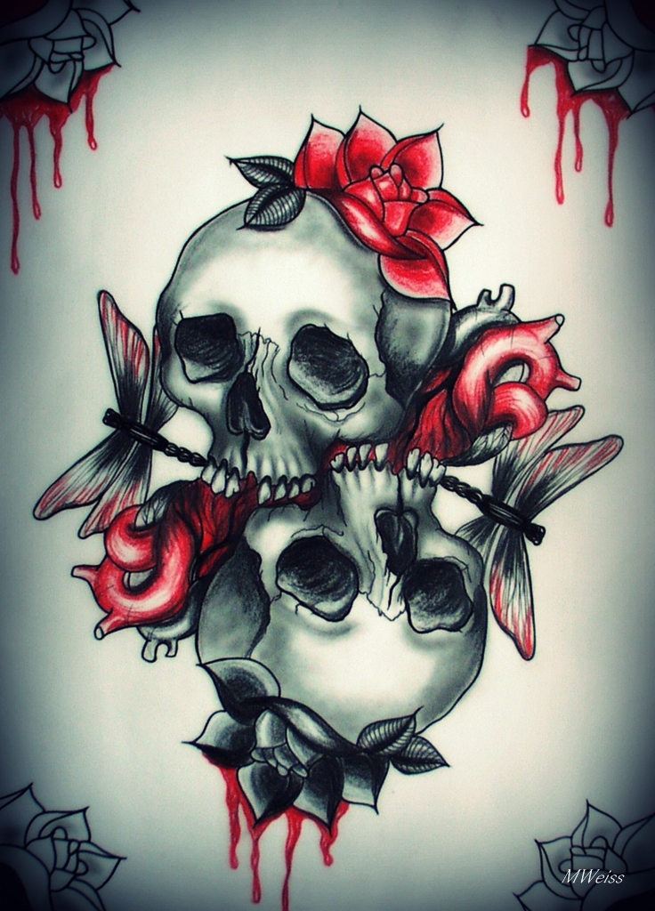 LOVE YOU TO DEATH tattoo flash skulls by oldSkullLovebyMW