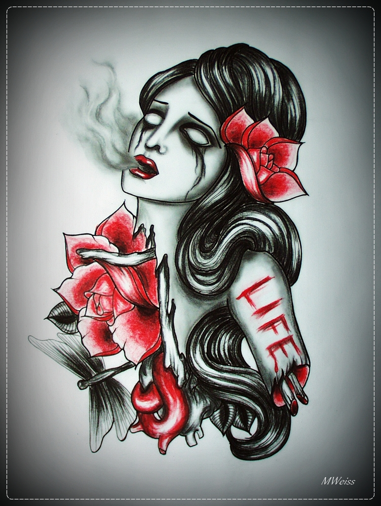 LEND ME A LIFE tattoo flash by oldSkullLovebyMW