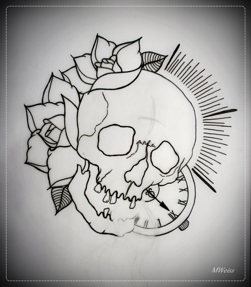 Traditional Rose Tattoo Outline