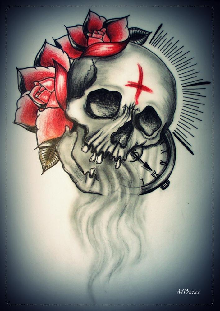 LAST BREATH tattoo flash skull roses by oldSkullLovebyMW