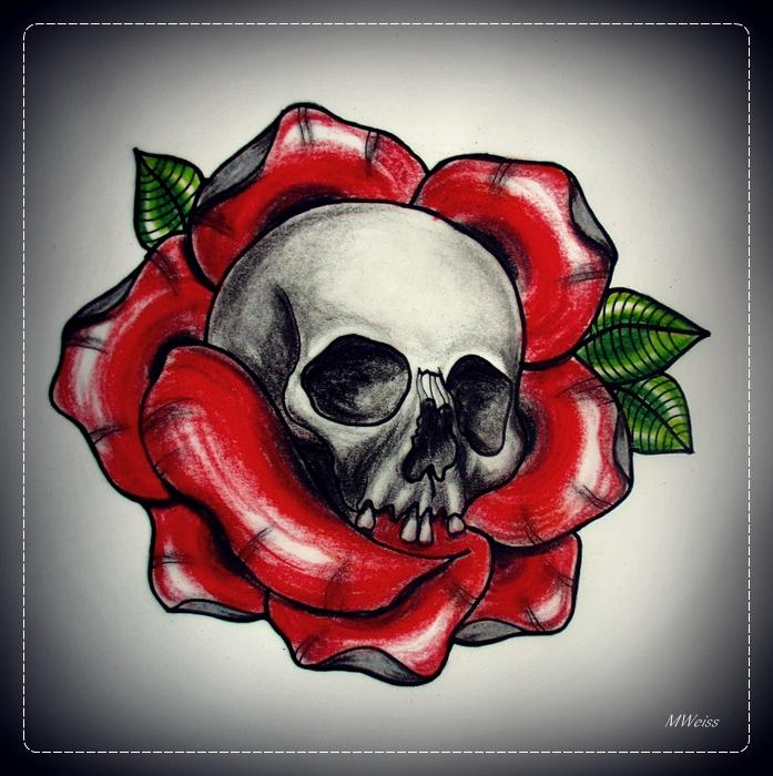 SKULL IN ROSE tattoo flash by oldSkullLovebyMW