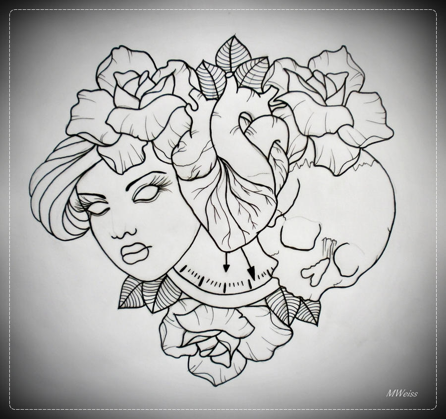 TILL DEATH DO US PART tattoo flash OUTLINE by oldSkullLovebyMW