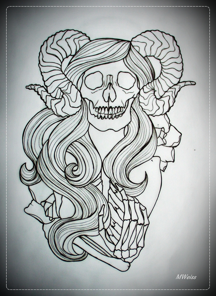 COME WITH ME tattoo flash OUTLINE skeleton by oldSkullLovebyMW