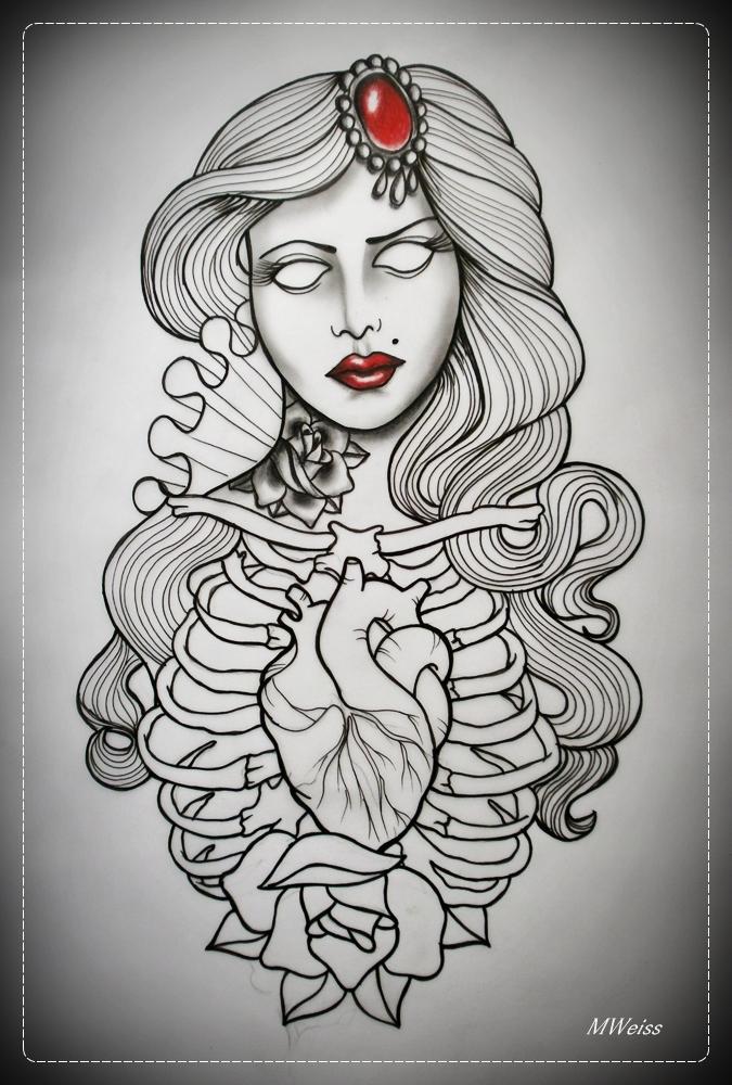 DEAD GIRL tattoo flash OUTLINE by oldSkullLovebyMW