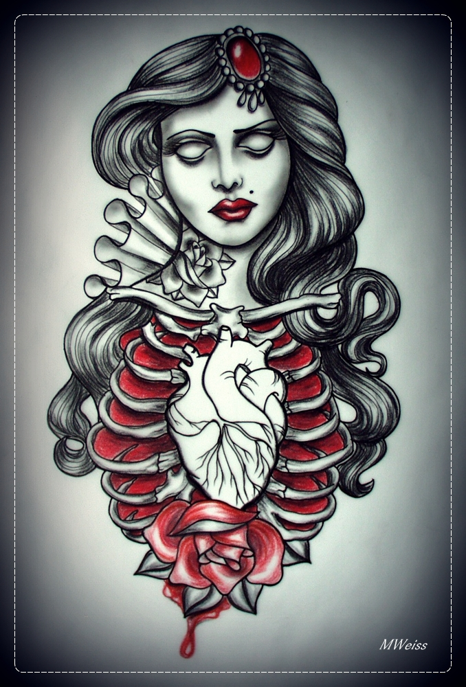 DEAD GIRL tattoo flash by oldSkullLovebyMW