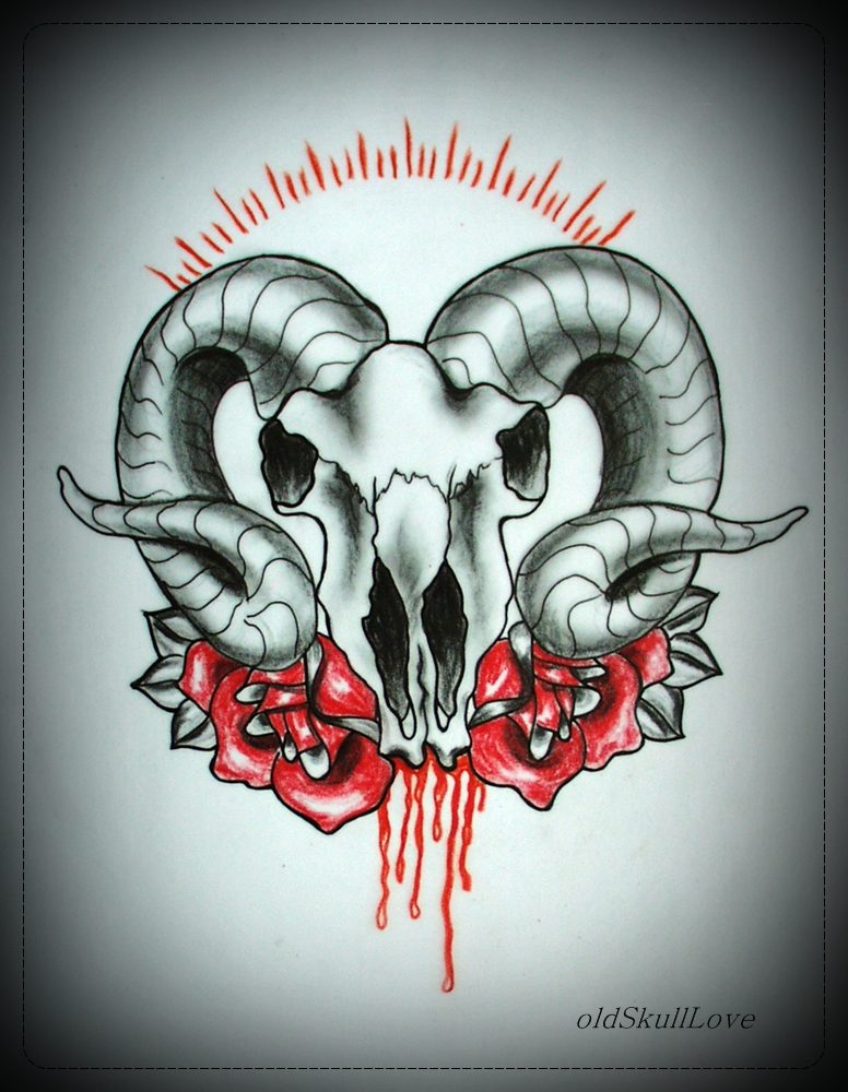 BLEEDING SKULL tattoo flash by MWeiss-Art