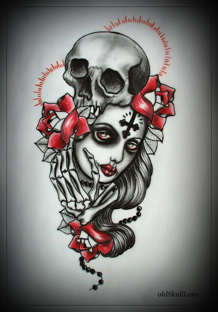MUERTE tattoo design by oldSkullLovebyMW