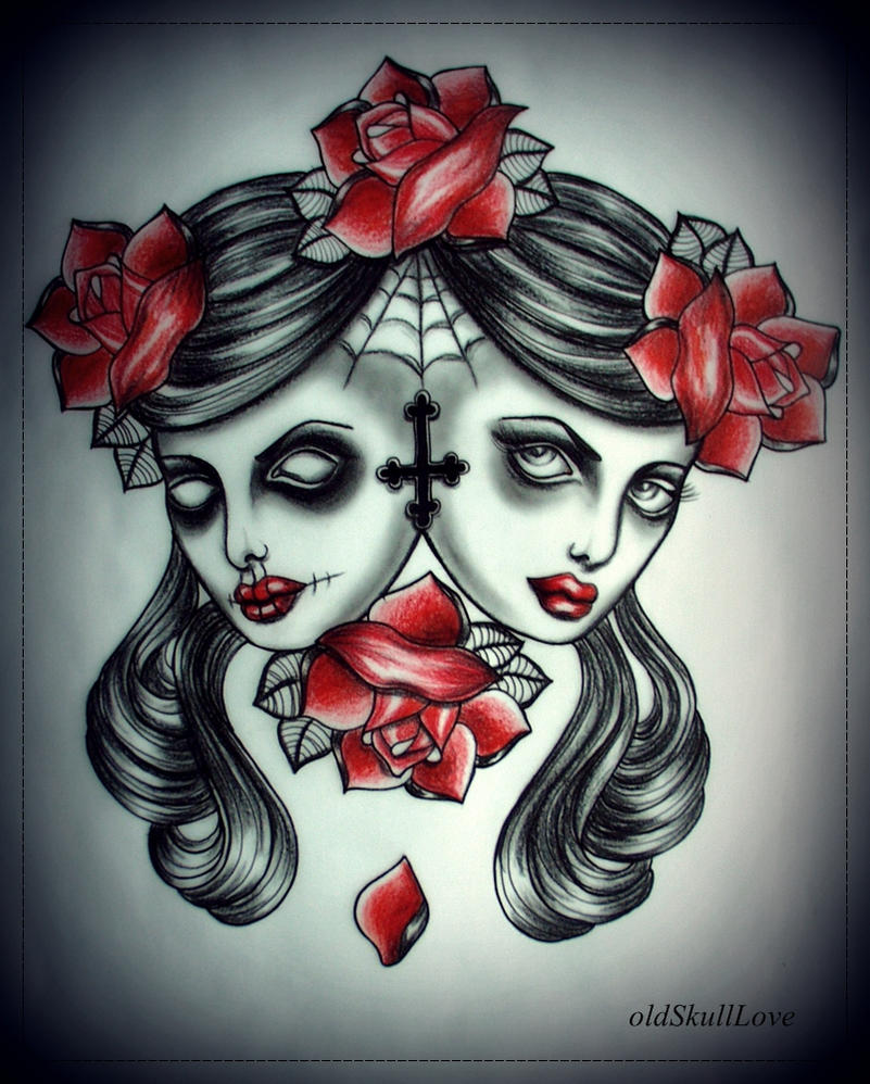 Girls heads tattoo flash by mweiss art on deviantart for Skull love tattoos