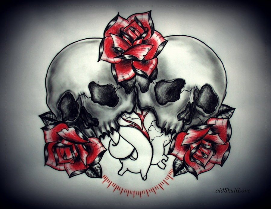 Red heart rose love tattoos art tattoo for Skull love tattoos