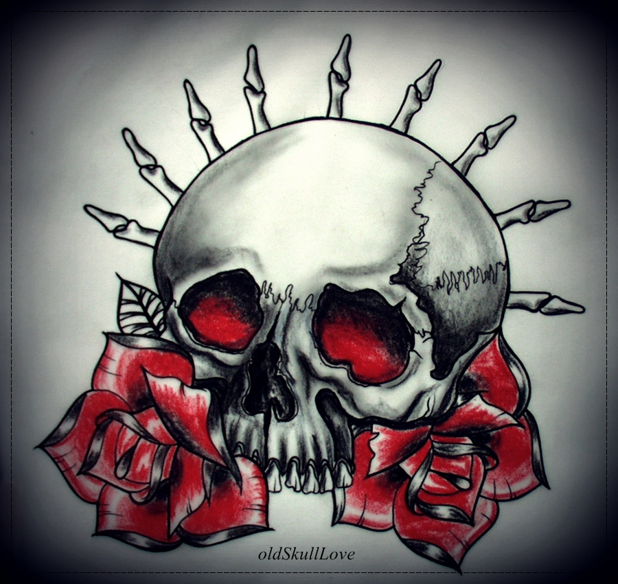 SKULL and ROSES tattoo design by oldSkullLovebyMW
