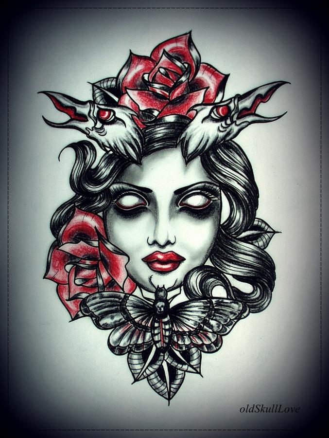 DEAD HEAD tattoo design by oldSkullLovebyMW
