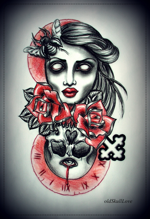 DYING TIME tattoo design by oldSkullLovebyMW