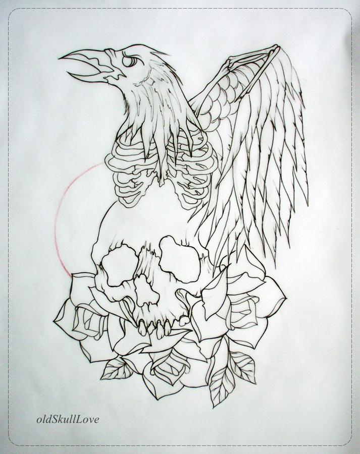 Sugar Skull Tattoo Design Outline