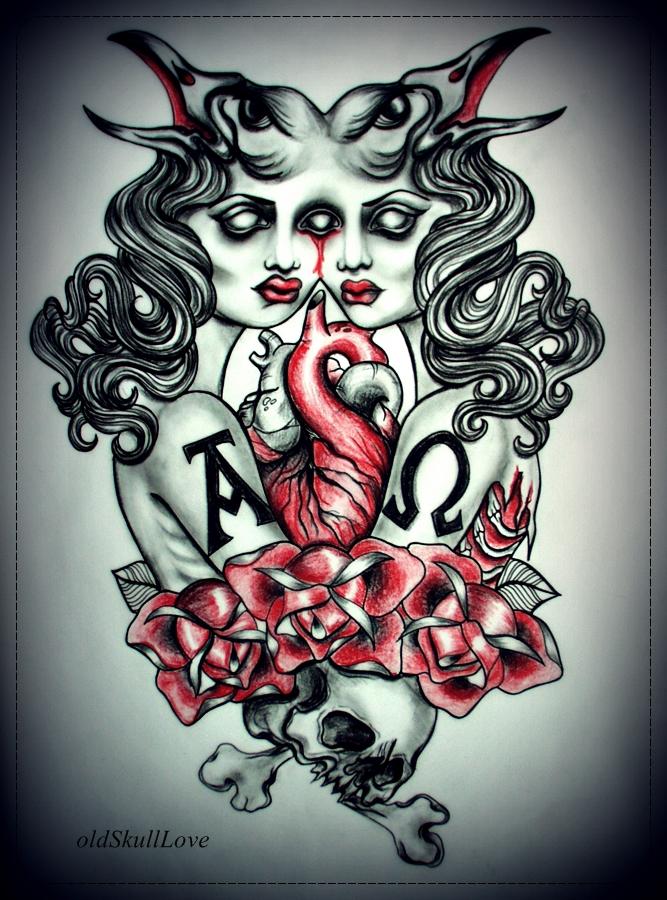 tattoo design by oldSkullLovebyMW