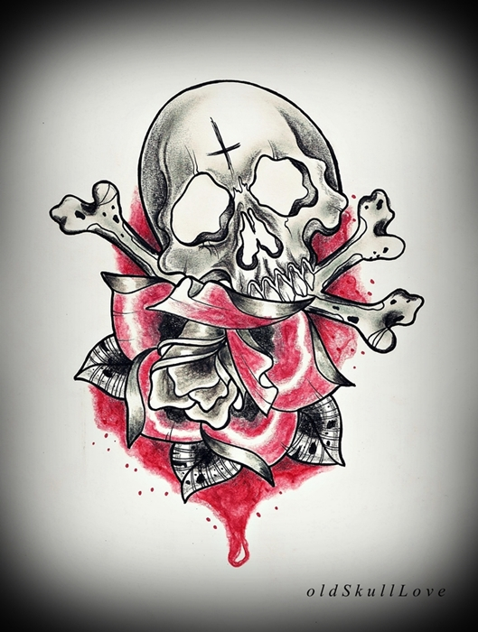 SKULL and ROSE tattoo design by oldSkullLovebyMW
