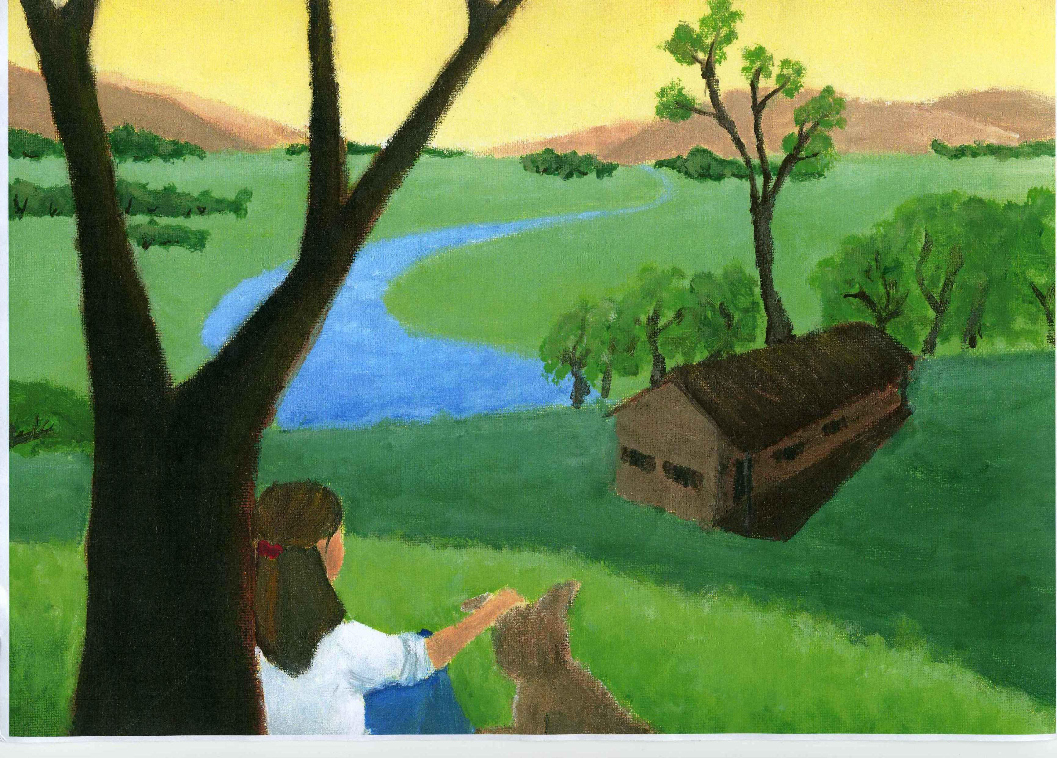 Simple nature scenery paintings the for Mural simple