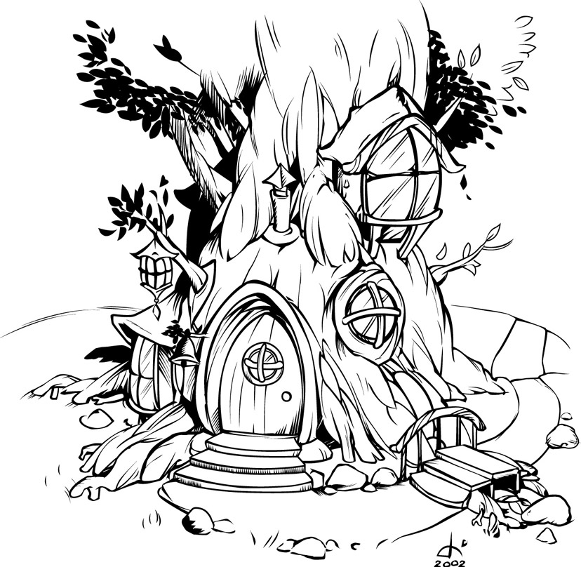Fantasy Houses Drawing Fantasy Treehouse Drawing
