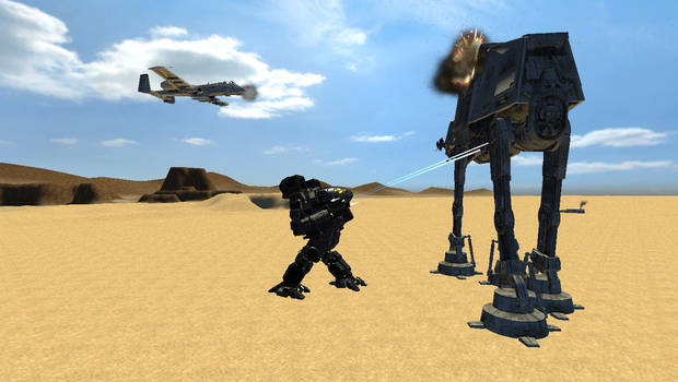 Timber wolf and friend Vs AT-AT