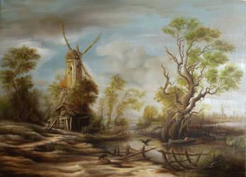 Dan Scurtu - Landscape with Two Crows by DanScurtu
