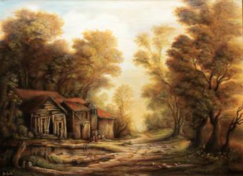 Dan Scurtu - Old Huts in the Forest by DanScurtu
