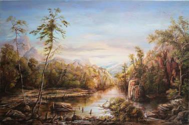 Dan Scurtu - Mountain River Study by DanScurtu