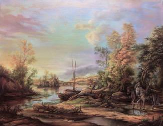 Dan Scurtu - River Landscape by DanScurtu