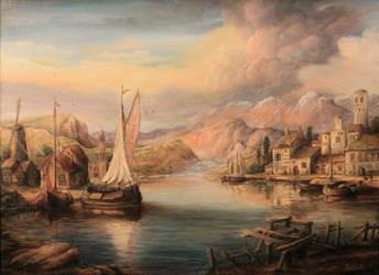 Dan Scurtu - Harbor Scene by DanScurtu