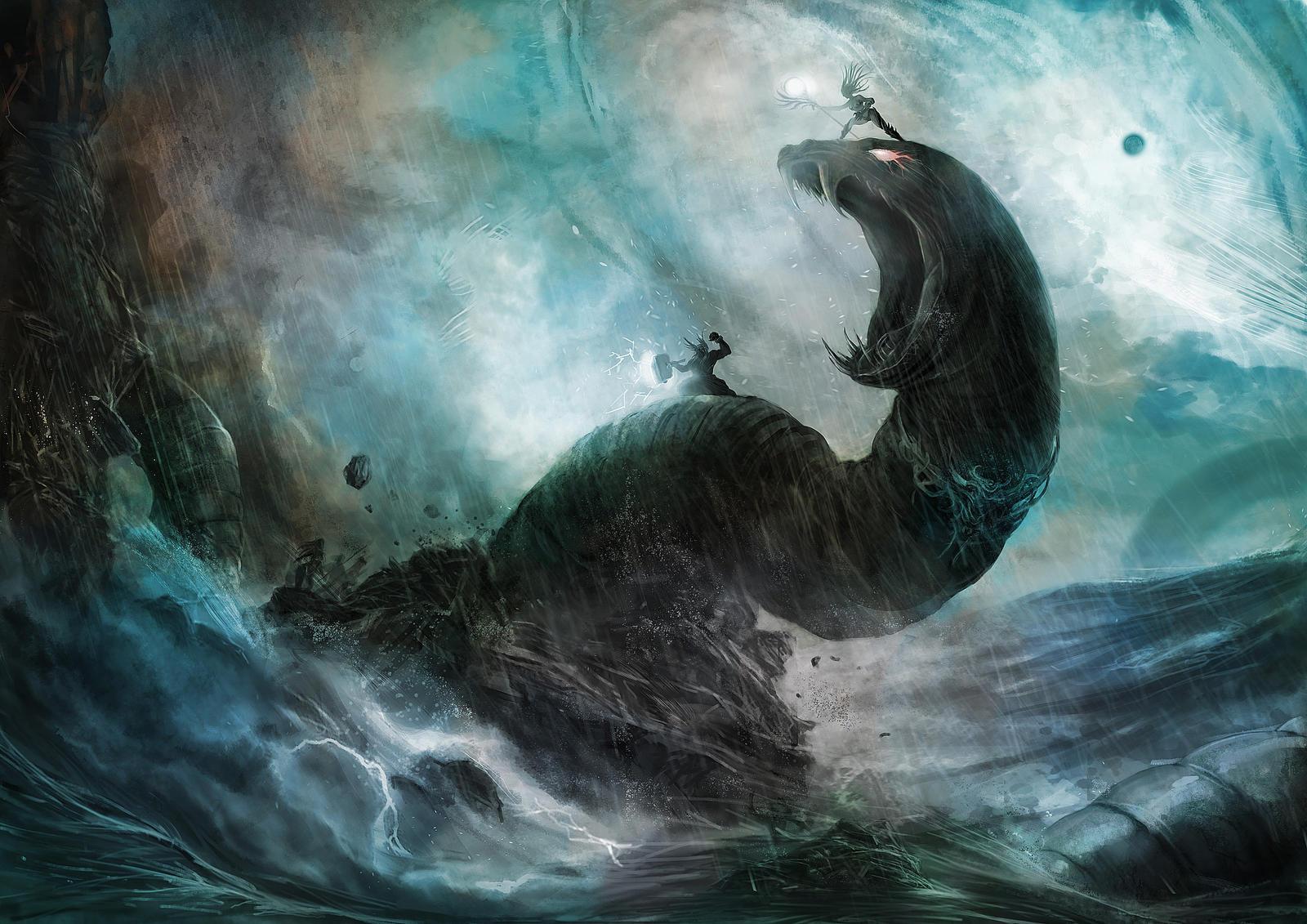 Thor Vs Yomungund by NevoAngelo-Arm on DeviantArt