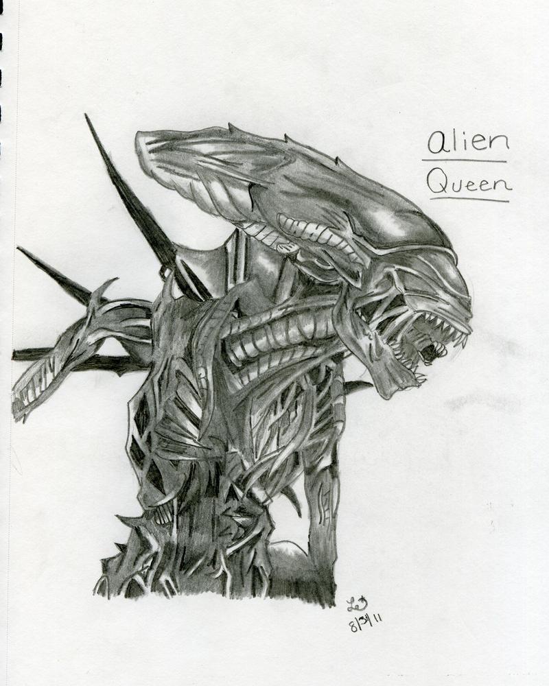 Alien Head Drawing Alien Queen Drawing by