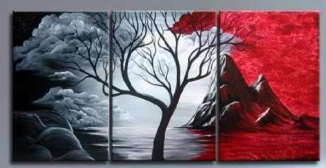 Red land Black Abstract Trees at Midnight by ModernArtist123