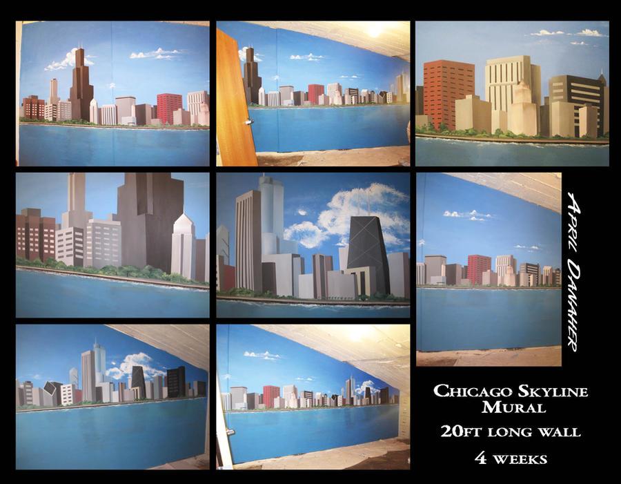 Chicago skyline mural by littletiger488 on deviantart for Chicago skyline wall mural
