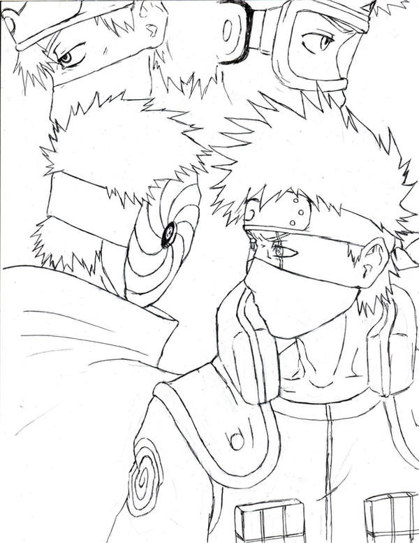 Tobi and kakashi by tobitkiwi on deviantart for Kakashi coloring pages