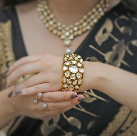 Elegant Gold Plated Kundan Kada by acsentialsindia