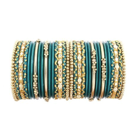 Beautiful Green Glass and Gold Bangles for Kids by acsentialsindia