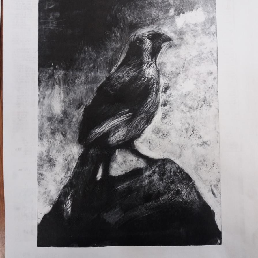 Kokako intaglio print by 7Esther7