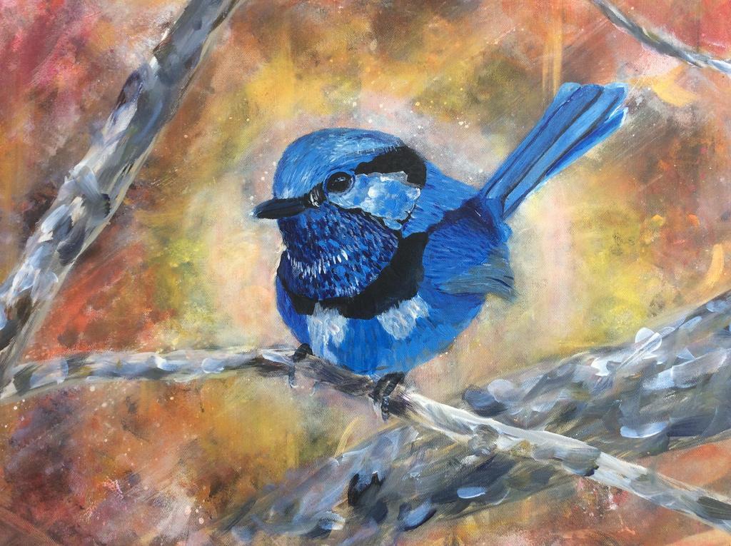 splendid fairy wren painting by 7Esther7