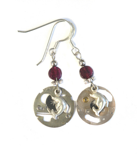 Steampunk dolphin earrings by clockwork-zero