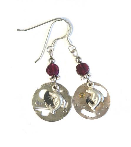 Steampunk dolphin earrings by clockwork-zero